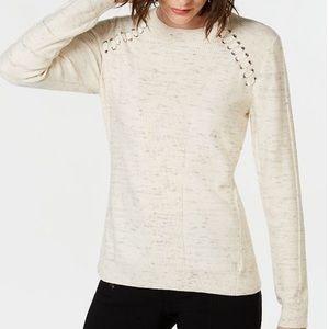 INC Raglan Lace-Up Sweater, Forest Green, Wm M